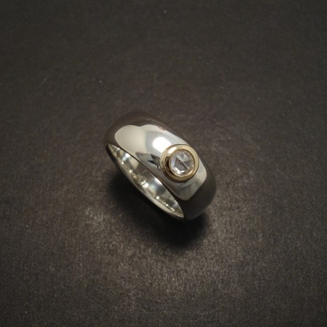 Old Cut Diamond, Silver and Gold Ring