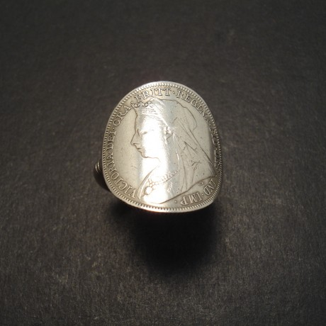 Queen Victoria Silver Shilling Ring