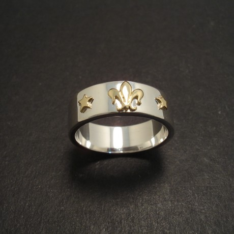Silver Ring with Gold Fleur-de-Lys