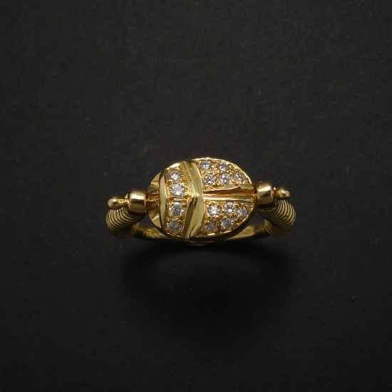 Scarab Diamond 18ct Gold Ring Ruby On Reverse Ancient