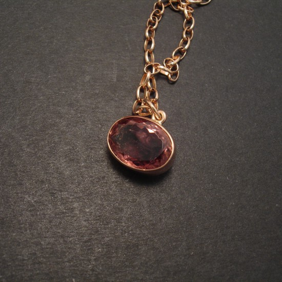 Pink Tourmaline Amp Gold Pendant Christopher William