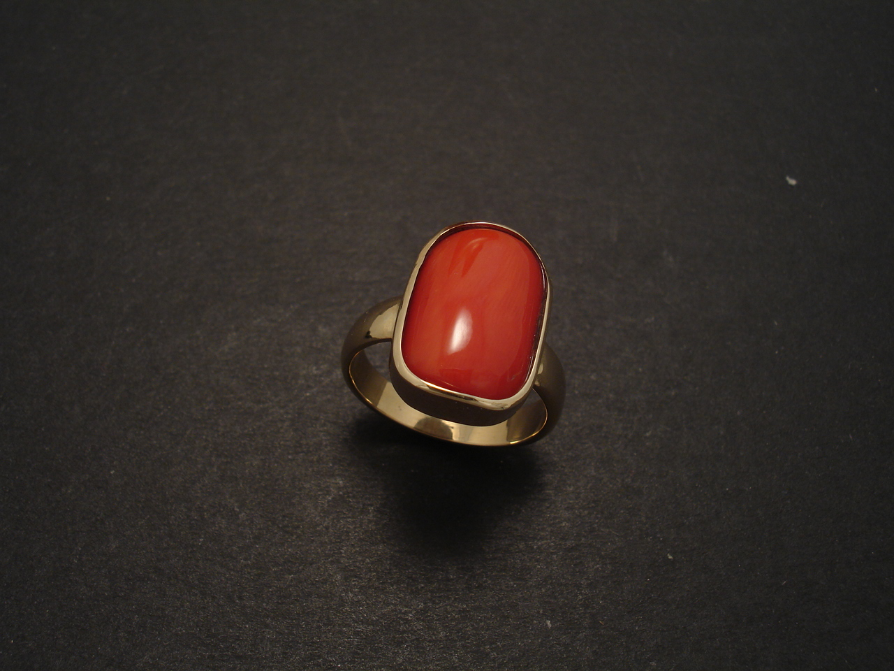 Red Coral Gold Ring Christopher William Sydney Australia