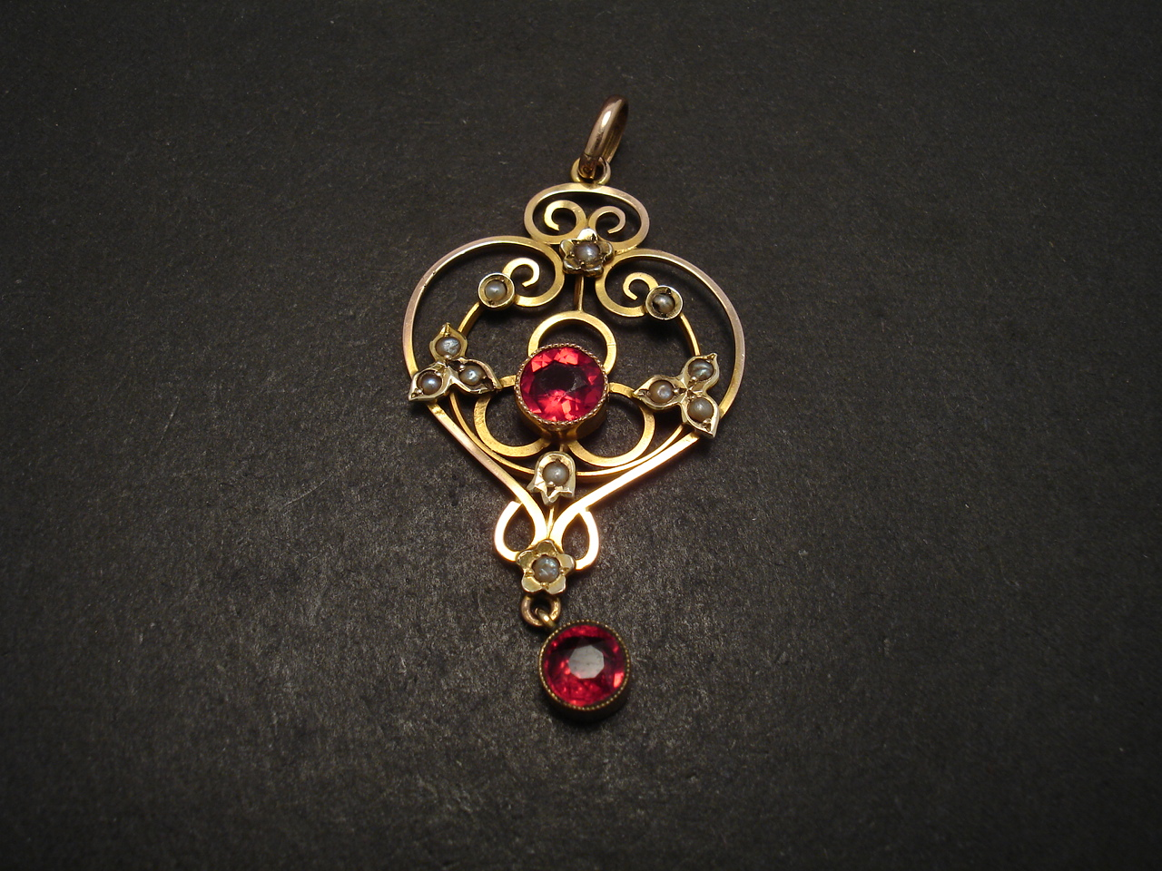 sydney necklace ruby pearl william antique glass jewellery gold pwearl christopher pendant