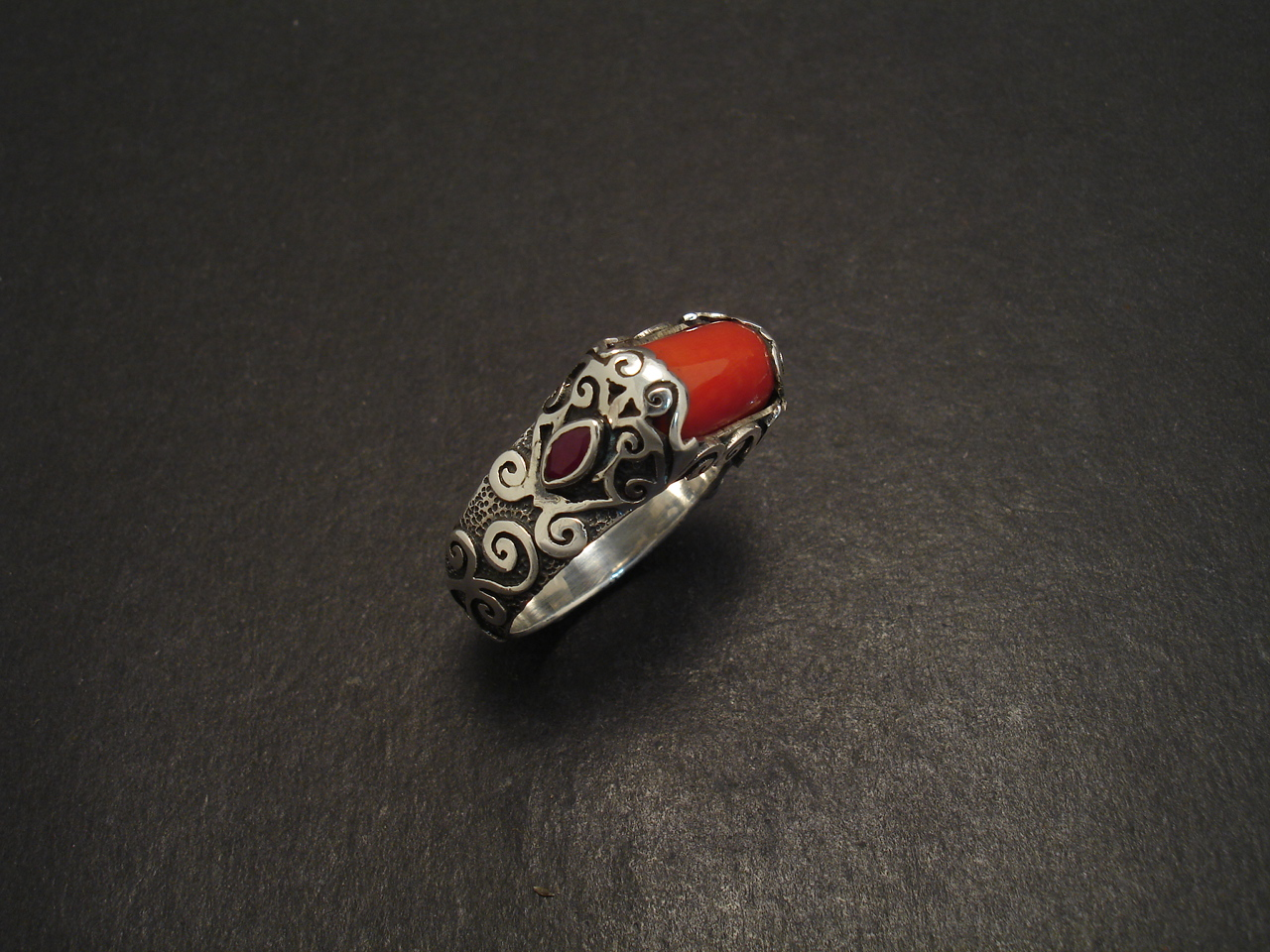 coral handcarved silver ring christopher