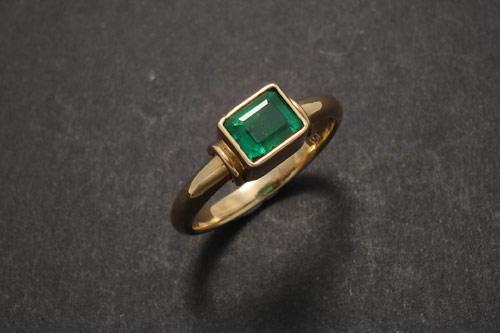 emerald oblong columbian gold ring christopher