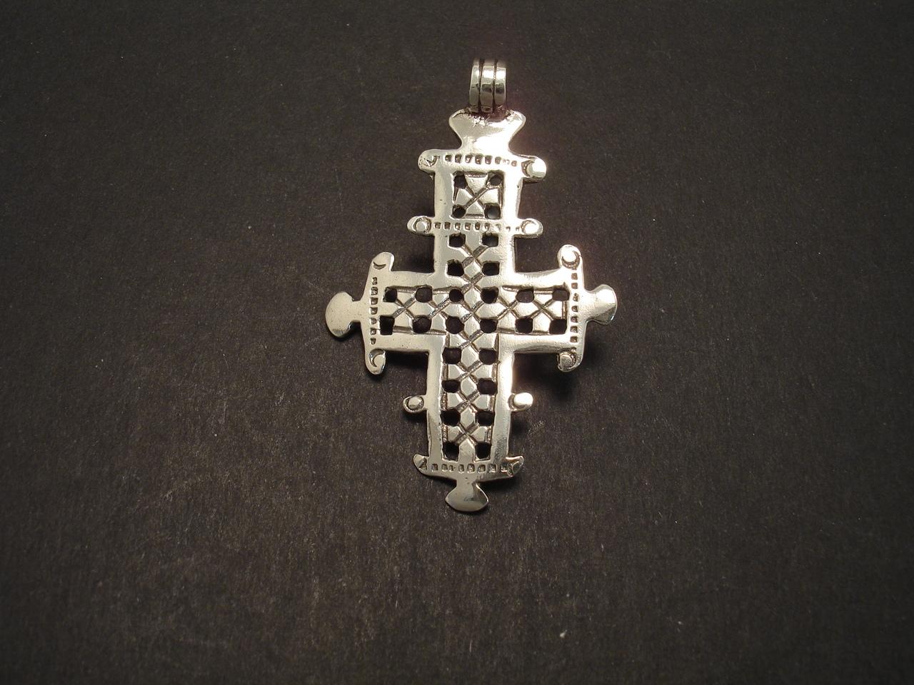 Ancient Ethiopian Silver Pendant Cross Design Christopher William