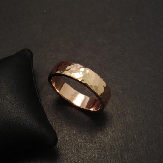 Hammered Mens 18ctrose Gold Wedding Band 09727