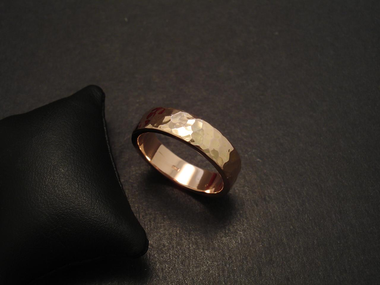 Hammered Mens Rose Gold Wedding Ring Christopher William Sydney