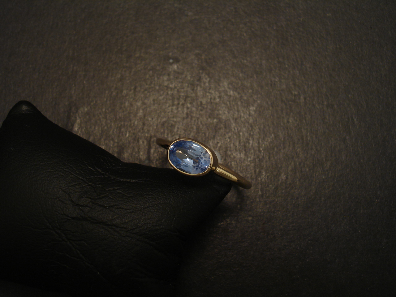 Light Bright Blue Sapphire, Simple Gold Ring - Christopher William ...