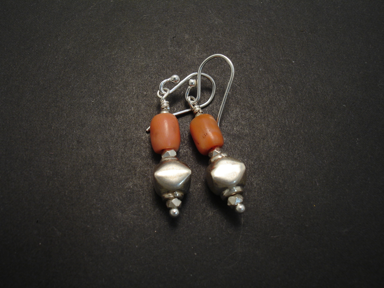 Simple Coral Amp Silver Earrings Christopher William