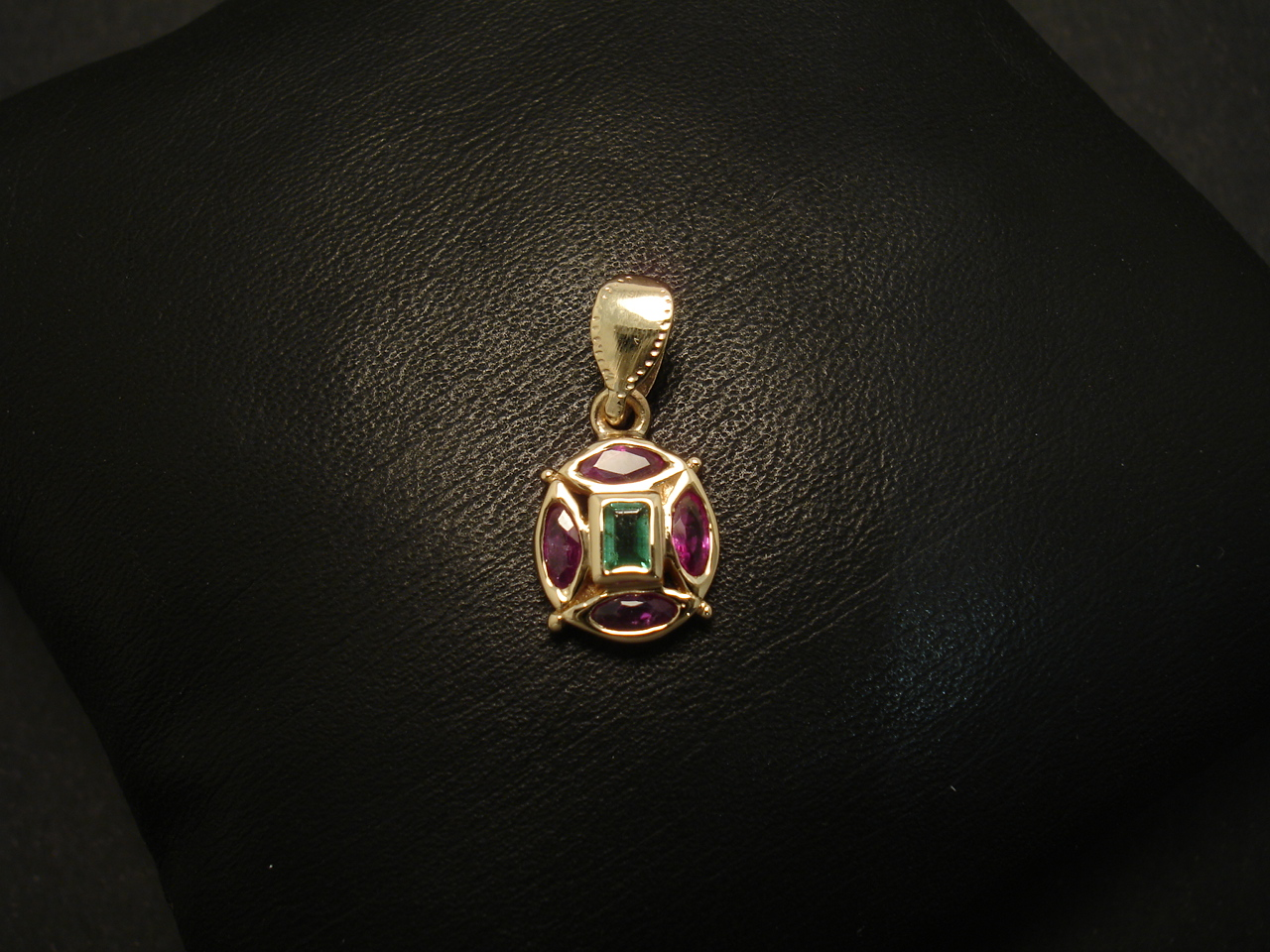 Matched marquise rubies emerald gold pendant christopher william matched marquise rubies emerald 9ctgold pendant 01628g aloadofball Choice Image