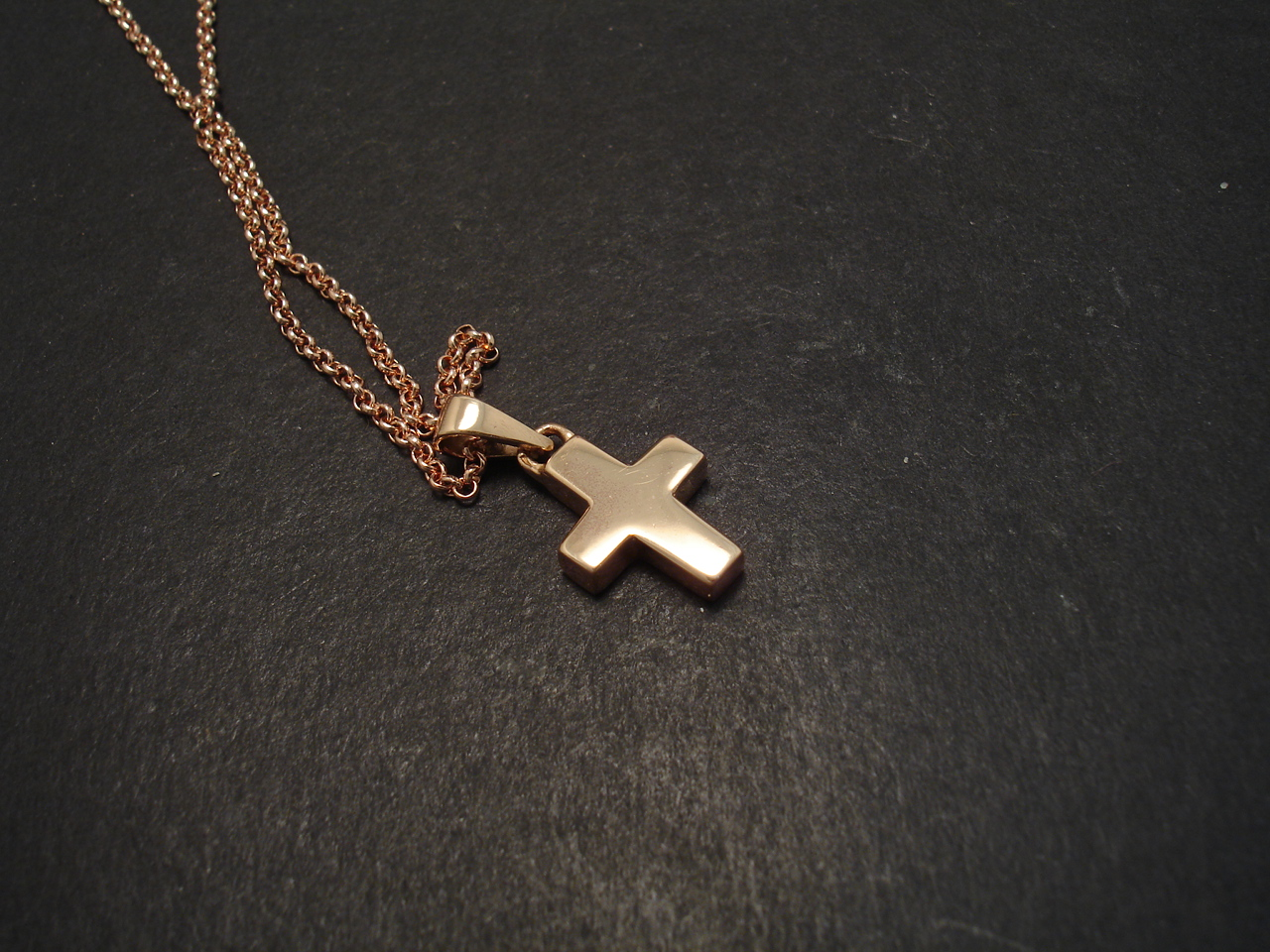 Chunky Little Cross Pendant 9ct Rose Gold Christopher