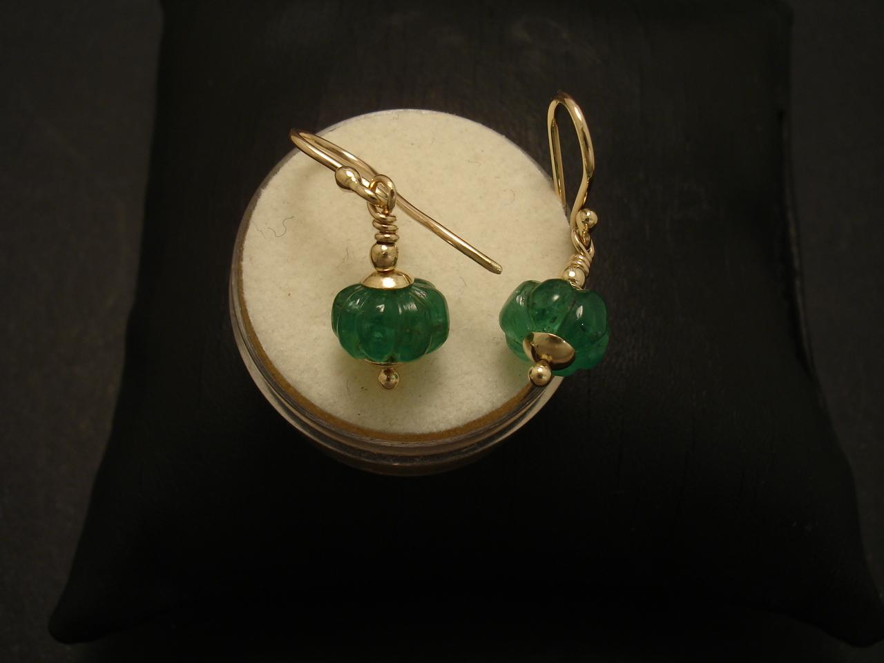 Carved Brazilian Emeralds Handmade Gold Earrings