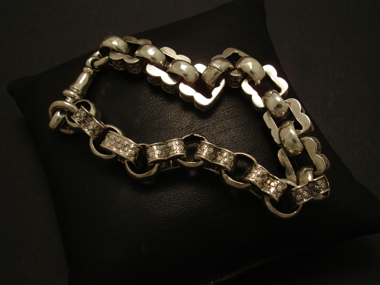 Fancy Antique English Silver Chain Bracelet Christopher