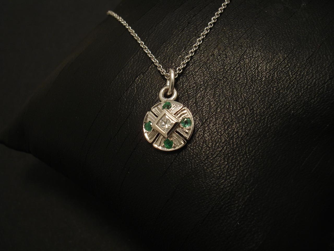 Neat diamond emerald white gold pendant setting christopher neat diamond emerald 9ctwhite gold pendant 02558g mozeypictures Choice Image