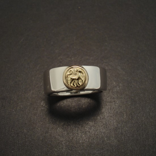 7mm Wide Thick Handmade Silver Ring Old Gold Coin