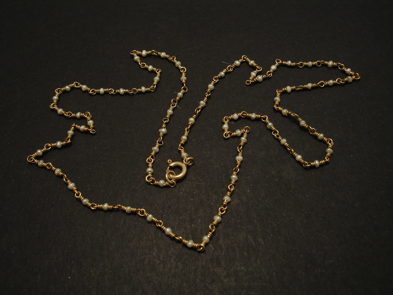 Tiniest Pearls In A Chain Necklace Of 9ct Gold