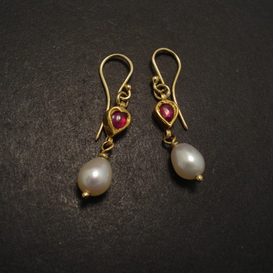 Favorite Old 20ct Gold Ruby Earrings with Pearl - Christopher William  CK63