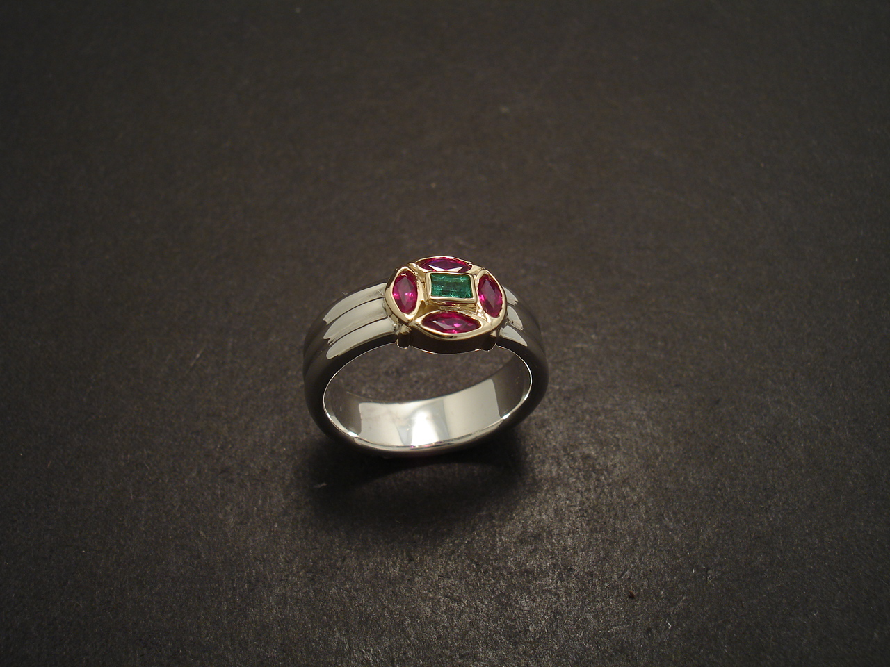 Baguette Emerald Ruby Gold Amp Silver Ring Christopher
