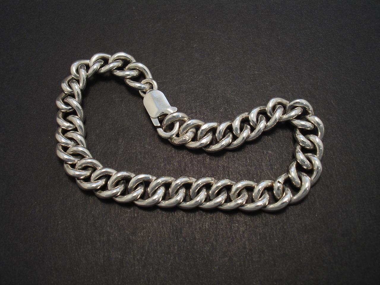 Curb Link Mens Silver Bracelet - Christopher William Sydney ...