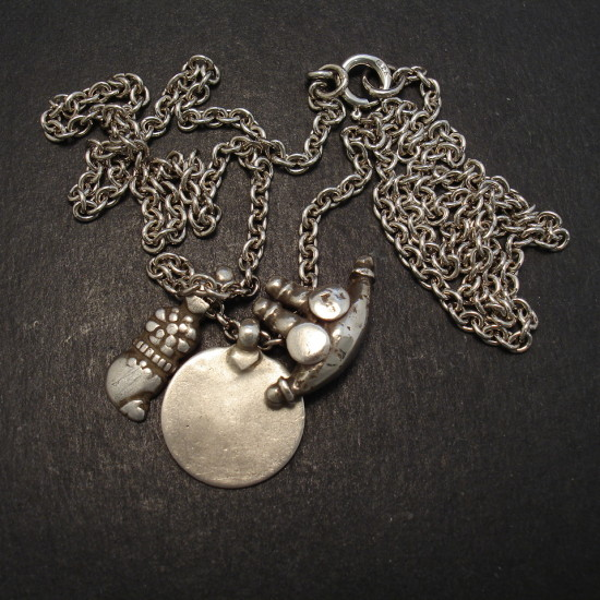 Old silver pendants silver chain necklace christopher william old silver tribal pendants silver cable necklace 08694 mozeypictures Gallery