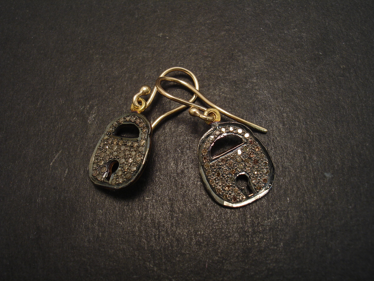 silver padlock earrings gold christopher