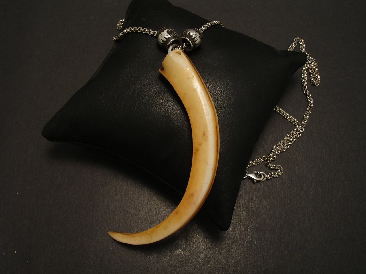 carved double silver sterling tusk gold horn bone necklace plated pendant beaded white chain