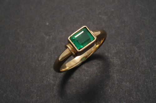 Emerald Oblong Natural Columbian Gold Ring Christopher William