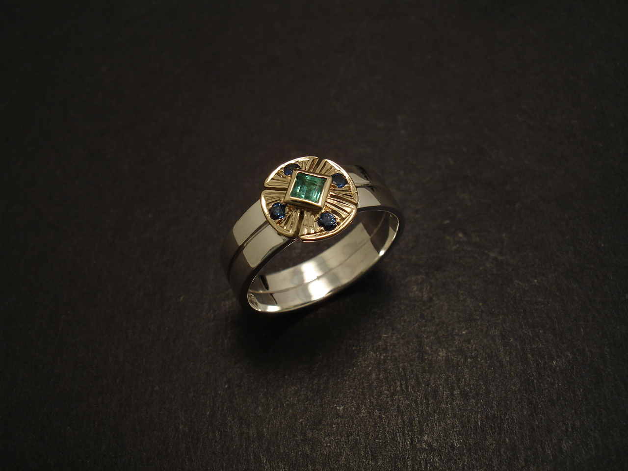 emerald sapphire gold silver ring christopher william