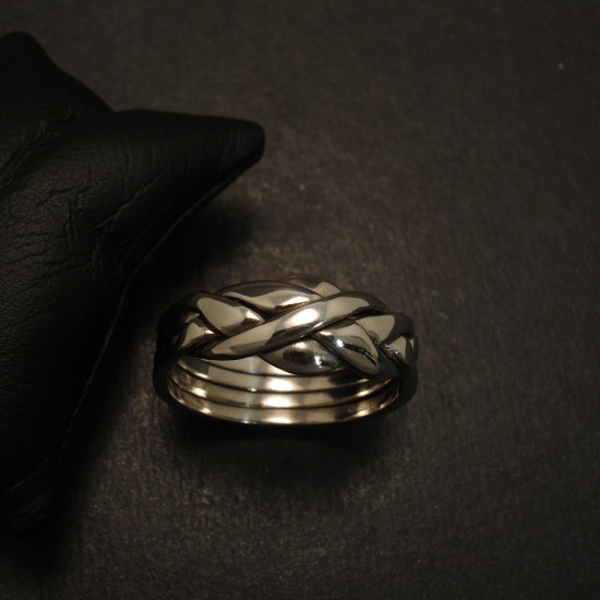 Mens Puzzle Ring In 9ct White Gold Christopher William
