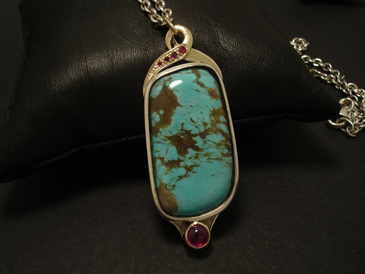 Unique Ruby Turquoise Pendant Handmade Silver Amp Gold