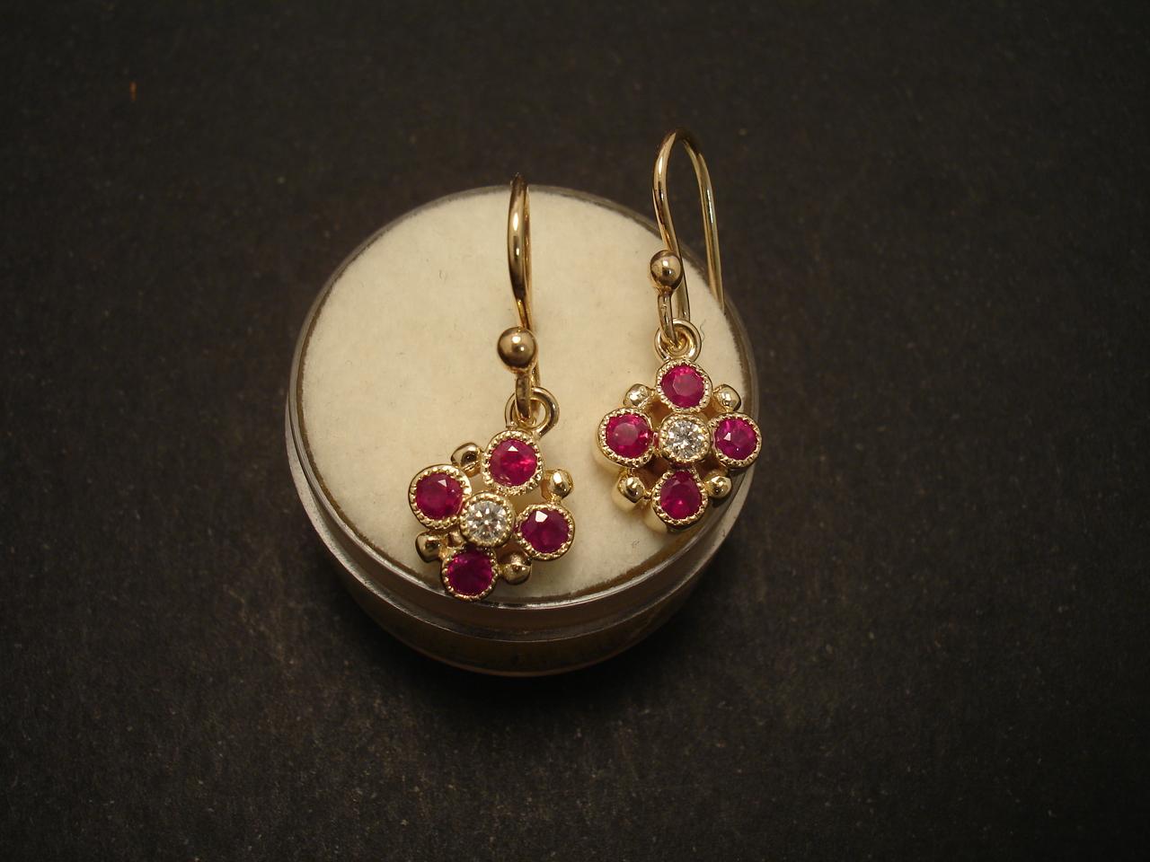 top pink red rubies  u0026 diamond  9ct gold earrings
