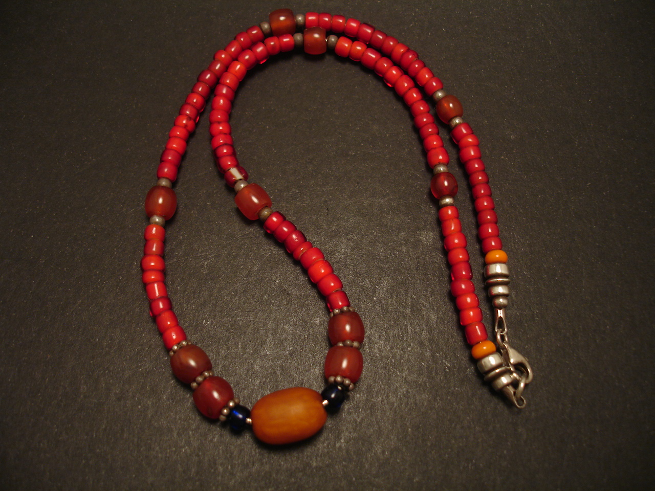 Beads Old Rare Amber Carnelian Red Glass Necklace Christopher William Sydney Australia Antique Ruby Coral And Tribal Jewellery