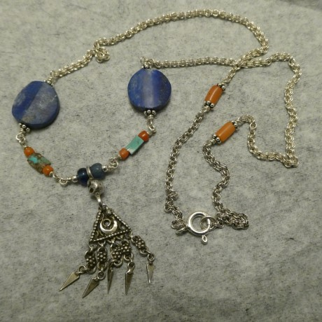 old-indus-valley-tribal-silver-lapis-lazuli-turq-silver-necklace-10557